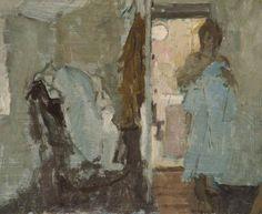 Bernard Dunstan Girl Holding a Blue Nightdress