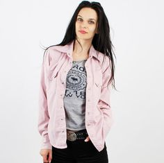 Vintage Levi's Faded Pink Western Slim Fit Women Shirt by Ramaci