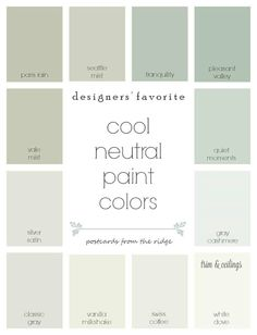 Designers' favorite cool neutral paint colors from Benjamin Moore with room photos. They all coordinate so nicely! Postcards from the Ridge paint colors benjamin moore Designers' Favorite Cool Neutral Paint Colors Green Paint Colors, Paint Color Schemes, Interior Paint Colors, Paint Colors For Home, House Colors, Green Gray Paint, Small Bedroom Paint Colors, Neutral Bathroom Colors, Best Neutral Paint Colors