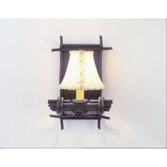 Steel Partners Bundle of Sticks 1-Light Wall Sconce Shade Color: Natural Rawhide, Finish: Black