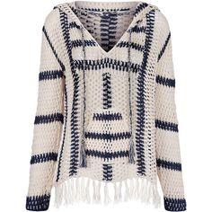 Anna Kosturova Ivory & Navy Cape Cod Crochet Hoodie (3.700 ARS) ❤ liked on Polyvore featuring tops, hoodies, boho hoodie, long sleeve tops, patterned hoodies, hooded sweatshirt and pink hoodie