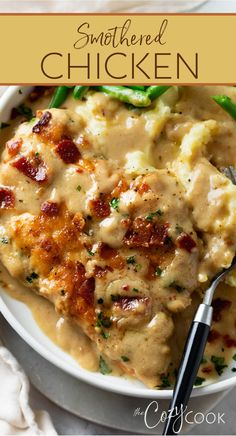 Easy Chicken Recipes, Turkey Recipes, Smothered Chicken Recipes, Smothered Chicken Casserole, Simple Chicken Dishes, Dinner Ideas With Chicken, Yummy Dinner Ideas, Recipes Using Cooked Chicken, Chicken Dishes For Dinner