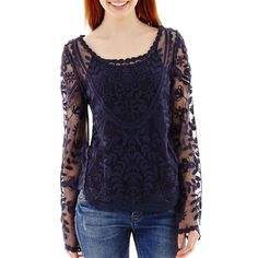 Rewind Long-Sleeve Scalloped-Hem Crochet Top Blue ($25) ❤ liked on Polyvore featuring tops, navy, scalloped top, navy blue tops, scoop neck top, camisole tops and cami top