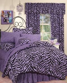 purple bed sets for teens | Zebra purple or pink bed in a bag set for teens in full and twin