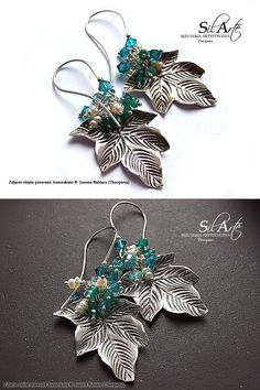 Silver (also Leafs), Natural Emerald, Apatite, Pearls & Swarovski Crystals