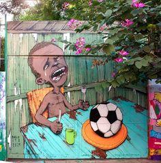 Das Graffiti des brasilianischen Straßenkünstlers Paulo Ito ziert eine Schulwand in Sao Paulo. (Foto: Ito)