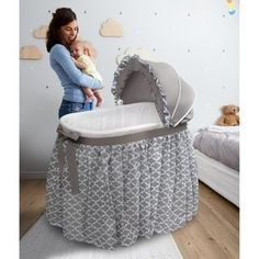 Badger Basket 'Wishes' Oval Bassinet Full-Length Skirt (gray lantern - Oval - Assembly Required - Rocking Ability - Synthetic Fiber/Plastic/Metal - Traditional), Grey Best Bassinet, Bassinet Cover, Bassinet Ideas, Baby Basinets, Baby Sleep, Baby Crib Bedding, Baby Cribs, Full Length Skirts, Bedroom Decor