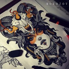 Face Tattoos, Body Art Tattoos, Girl Tattoos, Sleeve Tattoos, Leg Tattoos, Tatoos, Neotraditionelles Tattoo, Medusa Tattoo, Tattoo Flash