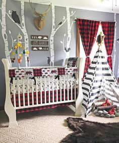 Baby Boy Crib Bedding Set, Lumberjack Baby Bedding, Mountain Nursery, Woodlands Baby Bear Blanket, R Woodland Nursery Bedding, Plaid Nursery, Baby Boy Crib Bedding, Baby Boy Cribs, Crib Bedding Sets, Baby Boy Rooms, Baby Boy Nurseries, Nursery Room, Baby Boy Themes