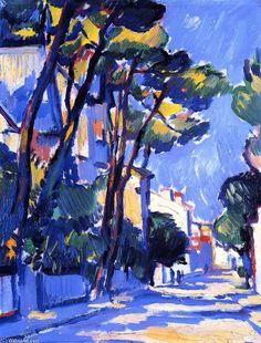 Street Scene, Francia, óleo sobre lienzo de Samuel John Peploe (1871-1935 )