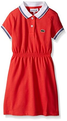 Lacoste Little Girls' Short Sleeve Vintage Tipped Polo Dress