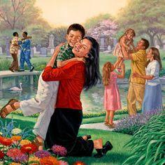 Personas recibiendo a los resucitados en el Paraíso
