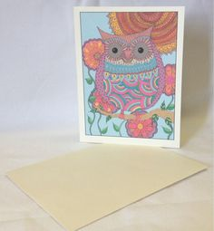 Hand Drawn Whimsical Owl Greeting Cards  by SnowflakeEclecticArt