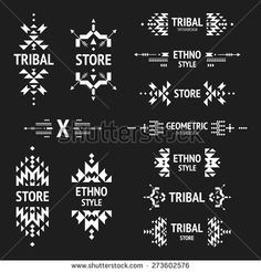 Set of abstract logo with tribal, ethnic, geometric elements, hipster logo, business label, navajo stile isolated on black background