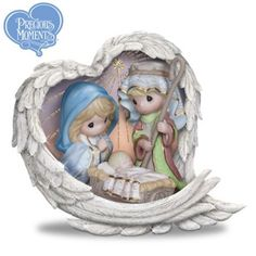 Information Online Precious Moments Heavenly Blessings Nativity Figurine with Swarovski Crystal by The Hamilton Collection Christmas Nativity Scene, Christmas Angels, First Christmas, Christmas Time, Nativity Sets, Christmas Figurines, Christmas Villages, Blessed Family, Biscuit