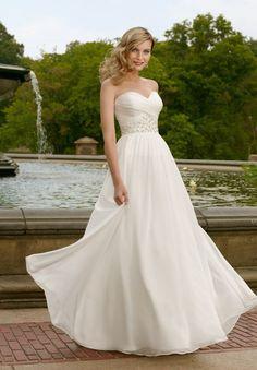 Chiffon Strapless Sweetheart A-Line Destination Wedding Dress