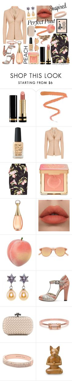 """""""Peaches: I Think You Are The Sweetest Thing!"""" by curekitty ❤ liked on Polyvore featuring Gucci, Ellis Faas, La Perla, Ted Baker, Too Faced Cosmetics, Christian Dior, Chimi, Bottega Veneta, Bing Bang and Michael Kors"""