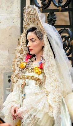 dita von teese presents christian lacroixs wedding dress in russian style for harpers bazaar