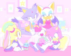 Amy, Cream, Rouge, and Blaze having a sleep over and exchanging their clothes. This is so cute!