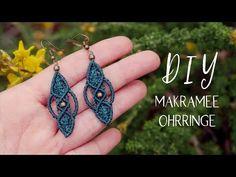 Make macrame earrings yourself (oriental) - Makramee - schmuck Macrame Knots, Macrame Jewelry, Macrame Bracelets, Diy Jewelry, Handmade Jewelry, Jewelry Making, Macrame Earrings Tutorial, Earring Tutorial, Diy Earrings