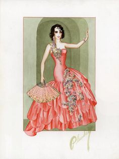 "Bebe Daniels sketch done by Walter Plunkett for the fab film ""Rio Rita"""