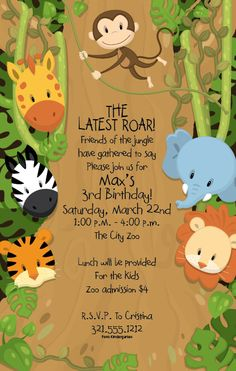 Lions, tigers and bears, oh my! Enter into the jungle, but beware the monkey! This fun flat white kids party invitation features a green jungle background with a green foliage border.  All of your jungle friends adorn the border of the invitation including a monkey, giraffe, zebra, tiger, lion and elephant.  Invitations come with white unlined envelopes.