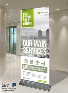20 creative ideas for a roll up display design Pull Up Banner Design, Standing Banner Design, Logo Design, Flyer Design, Layout Design, Rollup Banner, Display Design, Corporate Design, Tradeshow Banner Design