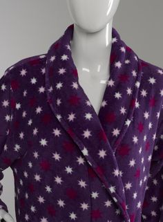 Womens Slenderella Star Print Dressing Gown Soft Coral Fleece Ladies ...