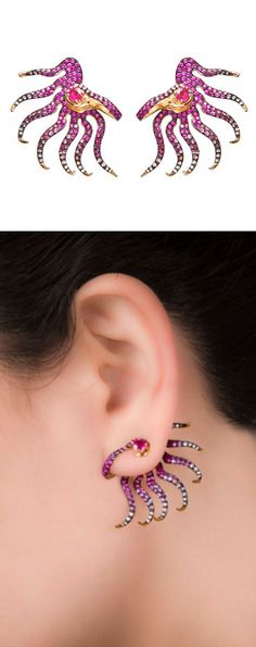Part earring, part ear cuff, Leyla Abdollahi's Nymph of a Rose Draped Spring earrings feature white and pink sapphires, rubies and gold.