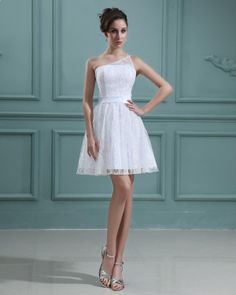 One Shoulder Sleeveless Lace Short Mini Wedding Dress  Read More:    http://weddingspurple.com/index.php?r=one-shoulder-sleeveless-lace-short-mini-wedding-dress.html