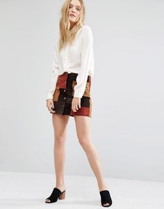 Image 1 of Mango Suede Patchwork Skirt