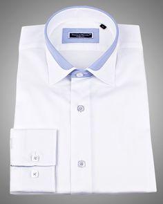 MENS DESIGNER SHIRTS - LYON WHITE SATIN      $79.00