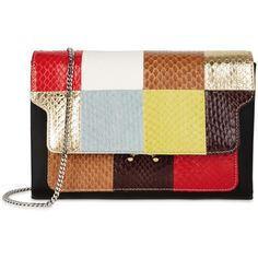 Marni Trunk Snake And Leather Clutch (361.405 HUF) ❤ liked on Polyvore featuring bags, handbags, clutches, patchwork leather handbags, leather purses, patchwork handbags, colorful clutches and multi colored clutches