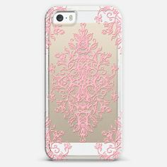 #pink #baroque #doodle #transparent #crystal #iPhone #case #cover #girly #casetify #micklyn