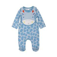 Newborn baby boy giraffe print sleepsuit romper and hat set ($77) ❤ liked on Polyvore
