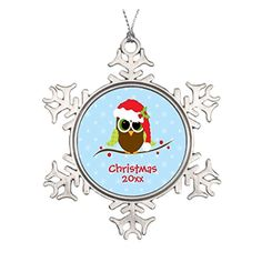 Personalized Funny Cute Owl In Santa Hat Christmas Snowflake Ornament * This is an Amazon Affiliate link. Details can be found by clicking on the image.