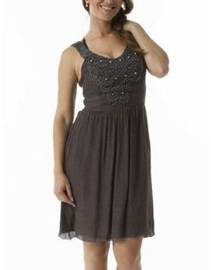 (CLICK IMAGE TWICE FOR DETAILS AND PRICING) Embroidered Racer Back Cocktail Dress Grey. Elegant party perfect embroidered dress, light in weight and beautiful to wear
