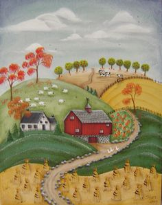 Red Barn in the Autumn Painting with Shipping Included. $89.50, via Etsy.