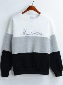 Sweatshirt Rundhals mit besticktem Buchstaben-kontrastfarbig
