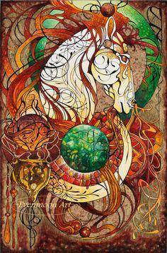 Fantasy Art Nouveau Painting - Emberis, Keeper of Fire  (16 X 20). $45,00, via Etsy.