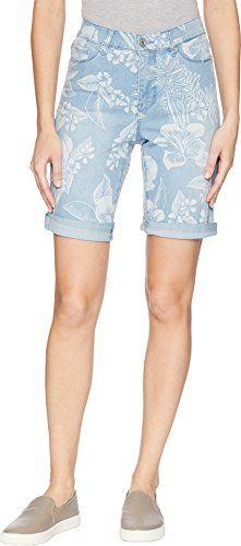 e33c40cf4f Womens Soft Printed Denim Bermuda Shorts with Rolled Hem in Bleach Bleached  Denim, Printed Denim