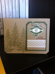 Country ornament Christmas card.  © Stampin'Up!™ Christmas Collectibles stamp-set.