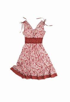 """Robe Morgan - Robes 2007: sélection de modèles trendy - Bretelles larges """"à nouettes"""" pour cette robe, courte et sexy, interprétée dans l'esprit facile à porter. Avec ses bandes contrastées au bas et à la taille, ce modèle cultive l'art de la proportion entre le rouge et le blanc..."""