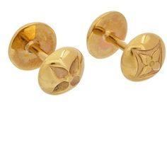 Louis Vuitton Gold-Tone Cufflinks ($421) ❤ liked on Polyvore featuring men's fashion, men's accessories, cuff links, no color, watches and mens leather accessories