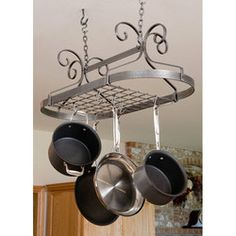 Pot Racks - Décor Collection DR1 Series Oval Pot Rack with Hammered Steel Finish by Enclume | Kitchensource.com