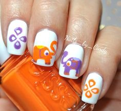 I love theese with a capital L cute. Get Nails, Fall Nails, Love Nails, Hair And Nails, Manicure Ideas, Nail Ideas, Elephant Nails, Big Friends, Nail Envy
