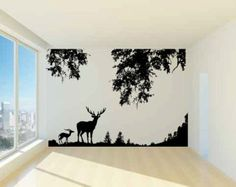 Deer and Trees Vinyl Wall Decal Sticker Graphic 8 Feet Tall