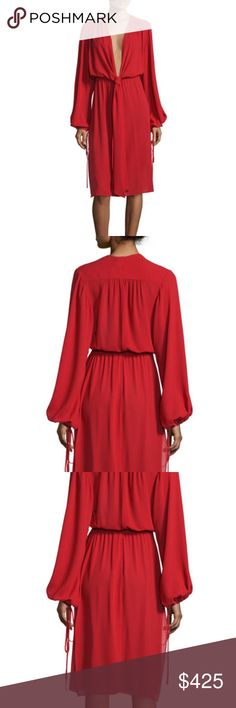 "Michael Kors Plunging V Neck Dress Michael Kors chiffon peasant dress.  Long sleeve. Crimson red. Size 2. Approx. length: 47""L down center back. Plunging V neckline with self-tie front. Long, bishop sleeves; self-tie cinches wrist. Blouson bodice; straight skirt. 14""L thigh-high slits at sides. Straight hem. Yoked back; light pleating. Pullover style. Silk. Dry clean. Made in Italy. Retail $2,295.00 Neiman Marcus Fall 2017 Michael Kors Dresses"