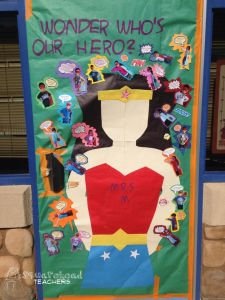 Another friend of mine just did this door for teacher appreciation week. :-) This made me think of how cool it would be to have a super hero theme or bul… Superhero School Theme, Superhero Door, School Themes, School Fun, Superhero Ideas, School Ideas, Superhero Party, Superhero Preschool, School Stuff