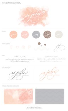 Si Jolie Brand Board by Salted Ink Design Co - Peach Watercolor, grey calligraphy brand logo Web Design, Logo Design, Website Design, Identity Design, Visual Identity, Brand Identity, Brand Design, Branding And Packaging, Business Branding